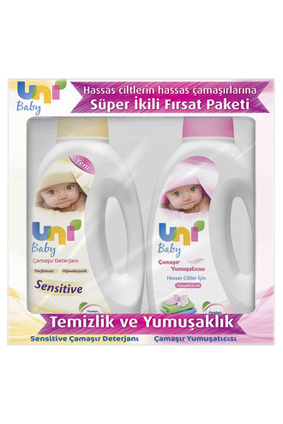 Uni Baby Sensitive Deterjan 1500 Ml + Yumuşatıcı